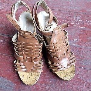 BCBG Generation leather wedge sandals